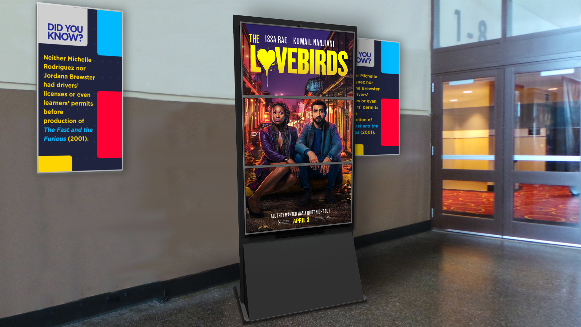Lobby displaying movie advertisement