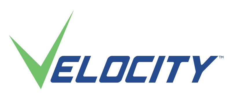 Velocity logo with green V and blue letters